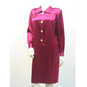 Vintage Fuschia Satin Shirt Dress